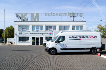 KOBLENZ, GERMANY - September 15, 2019: Renault Master of KM Autovermietung. The Renault Master is an upper medium size van produced by the French manufacturer Renault since 1980.