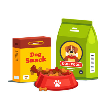Domestic dog food, bag package and cardboard box