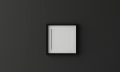 Blank picture frame for insert text or image inside on dark grey color.