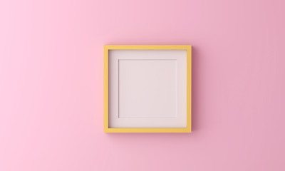 yellow picture frame for insert text or image inside on pastel pink color.