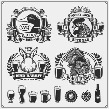 Beer set emblems with duck, rooster, rabbit and turkey. Labels, emblems, stickers and design elements for pub, beer festival and beer restaurant design.