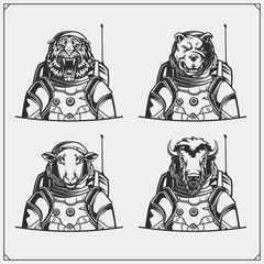 Space and astronaut emblems, labels and design elements. Tiger, ship, bison and pitbull in a space suit. Print design for t-shirt. Monochrome design.