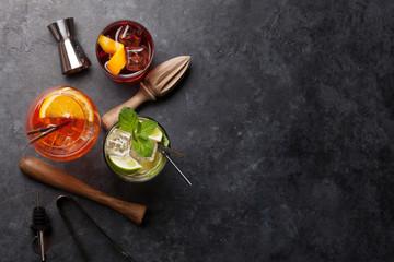 Three cocktail glasses