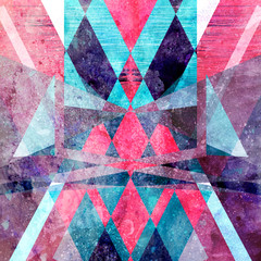 Abstract watercolor miracle background with different geometric shapes