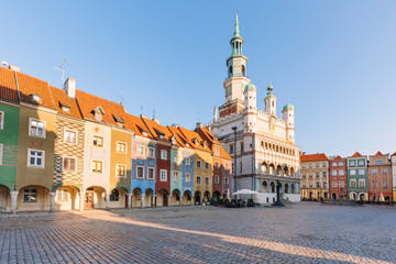 Poznan in Poland. Old square and historical colorful tenement
