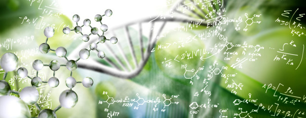 abstract image of dna chain on blurred background