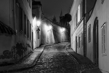 Wall Mural - Hidden fairytale street in Prague Czech Republic Novy Svet quarter enlightened by street lamps during night black and white