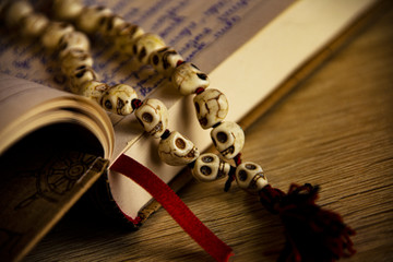 The necklace on a notebook
