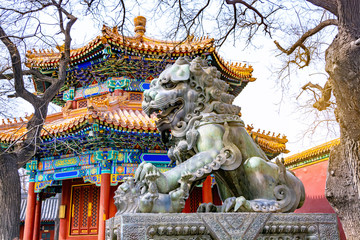 Poster Lama Bronze Chinese Guardian Lion statue in Yonghegong Temple (Lama Temple) in Beijing, China