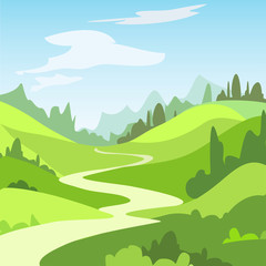Fototapeten Lime grun Cartoon landscape with green fields, trees. Beautiful rural nature. Vector Illustration.