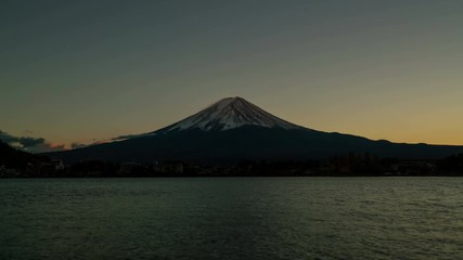 Wall Mural - Light to dark sunset time-lapse of Fuji mountain in 4K. Day to night time-lapse at lake Kawaguchiko. Beautiful snow cap on Fuji in autumn.