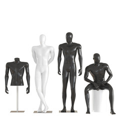 Four different mannequins in a standing and sitting pose and one mannequin torso on an iron rack. 3D rendering on isolated background