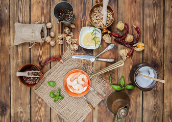 Shrimp, prawn, in a kitchen arrangement (view from a different angle in the portfolio)