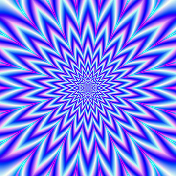Star Mania in Blue Pink White and Violet / A digital abstract fractal image with an optically challenging psychedelic design in blue, pink and violet.