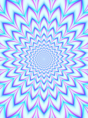 Concentric Petals in Blue and Pink / An abstract fractal work with an optically challenging floral pattern in pink, blue and violet.