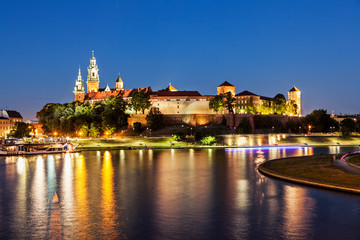 Wawel castle at night in Krakow (Cracow), Poland