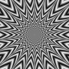 Manic Star in Black and White / An abstract fractal image with and optically challenging monochrome star design in black and white.