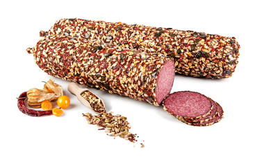 Salami with decoration isolated on white background (view from a different perspective in the portfolio)