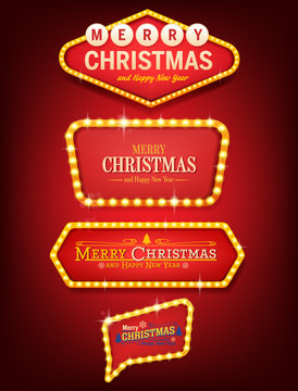 illuminated signs for christmas vector