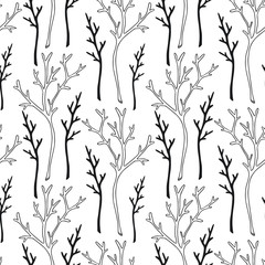 Tree branches black and white pattern. Twigs seamless background