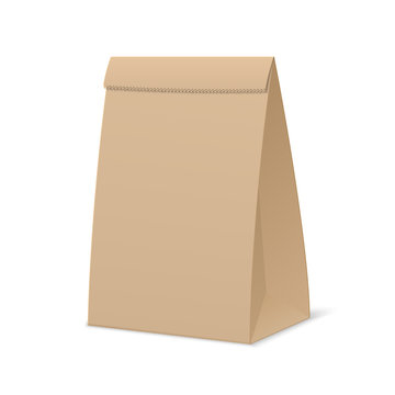 Brown paper bag for food. Mock up cardboard packaging for products on white background.