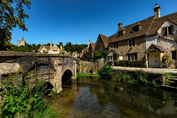 Castle Combe. Picturesque Cotswold village of Castle Combe, England