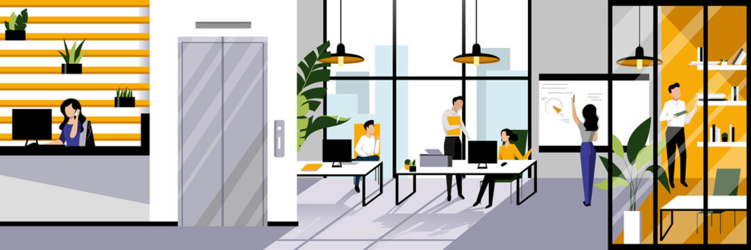 Office workspace and working business people. Vector flat cartoon illustration. Open space contemporary interior design