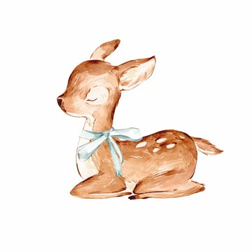 Closed Eyes Watercolor Baby Deer over white. Sleeping Baby Deer with the blue ribbon. Isolated .