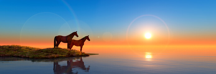 horses in island and sunset