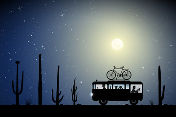 Cartoon retro car between cactuses on road on moonlit night. Vector illustration with silhouettes of parents with children traveling in camper. Family road trip. Full moon in starry sky