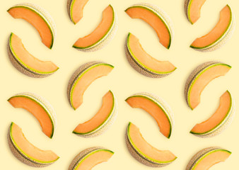 Wall Mural - Colorful seamles fruit pattern of melon slices
