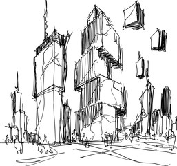 hand drawn architectural sketch of a modern fantastic city with high futuristic buildings and people in the streets