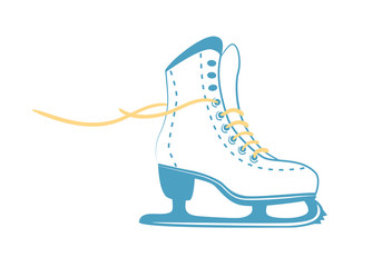 ice skates with bright laces. White classic figure skate in line style. Sport equipment logo. Vector Illustration isolated on white background.