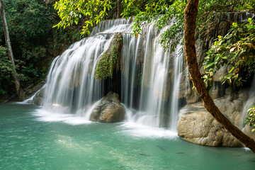 Erawan water fall (Second floor), tropical rainforest at Srinakarin Dam, Kanchanaburi, Thailand.Erawan water fall is beautiful waterfall in Thailand. Unseen Thailand - Image