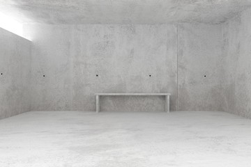 Abstract empty, modern concrete room with light from window and concrete bench at the backwall - industrial interior background template, 3D illustration