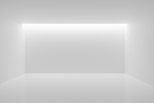 Empty white room with backwall lighting from the ceiling - gallery or modern interior template, 3D illustration