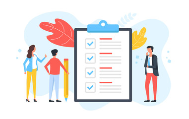 Checklist. Group of people and clipboard with check list and checkmarks. Business plan, marketing strategy, survey, complete tasks, teamwork success concepts. Modern flat design. Vector illustration