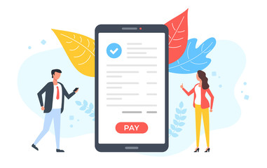 Mobile payment. People and smartphone with check mark and pay button on screen. Pay with your phone, online shopping, payment app, digital transaction concepts. Modern flat design. Vector illustration