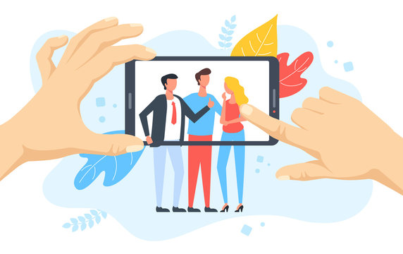 People taking photo on mobile phone. Hands holding smartphone with group of people on screen. Selfie, social media, taking picture concepts. Modern flat design. Vector illustration