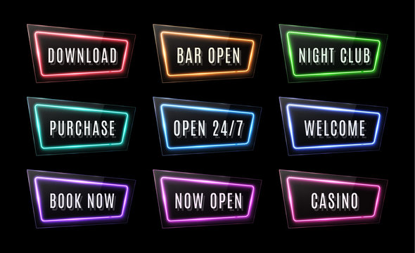 Download, Bar Open, Night Club, Purchase, Open 24 7, Welcome, Book Now, Casino neon signs set on black background. Color led web button. Glossy rectangle light banner. Technology vector illustration.