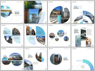 Minimal brochure templates with blue color circles, round shapes. Travel covers design templates for square flyer, leaflet, brochure, report, presentation, blog, advertising, magazine for blogging.