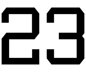 23 Classic Vintage Sport Jersey / Uniform numbers in black on white background for American football, Baseball and Basketball or soccer for shirt