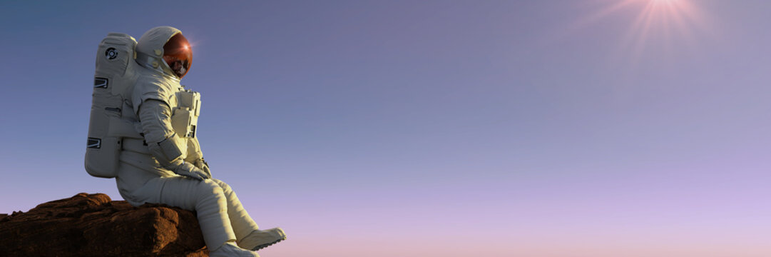 astronaut sitting on a cliff enjoying the view over an alien world
