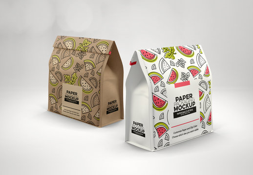 2 Paper Bags with Clip Seals Mockup