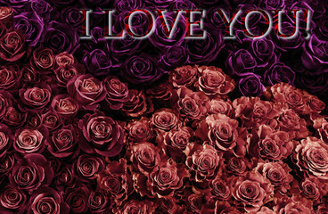 card love you with fresh pink roses .