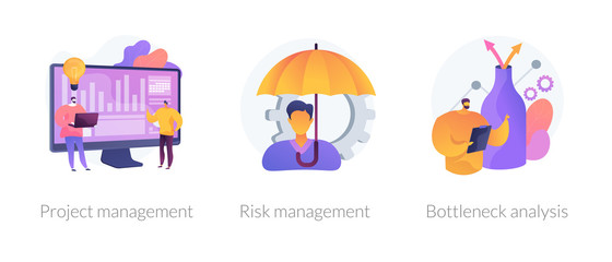 Business setting strategy icons set. Risks assessment, market niche search. Project management, risk management, bottleneck analysis metaphors. Vector isolated concept metaphor illustrations.