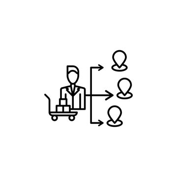 Distribution icon. Element of procurement process thin line icon