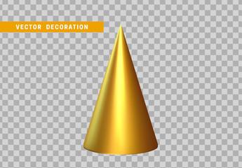 Sharp geometric cone cast volumetric. 3d Geometric Shapes Objects. Realistic geometry elements, color golden gradient. Render Decorative figure for design. vector illustration
