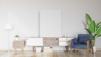 Modern interior with poster and armchair,decoration composition on cabinet.