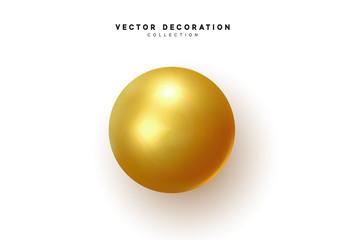 3d object round sphere, golden ball. vector illustration